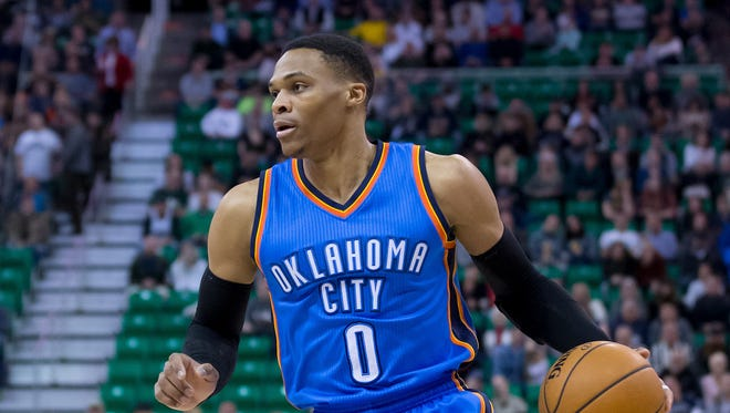 Dec 14, 2016: Oklahoma City Thunder guard Russell Westbrook (0) dribbles the ball during the first quarter against the Utah Jazz at Vivint Smart Home Arena.