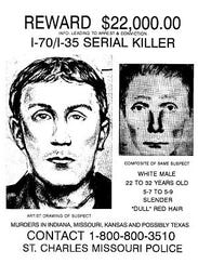 A flyer offering a reward for the capture of the I-70