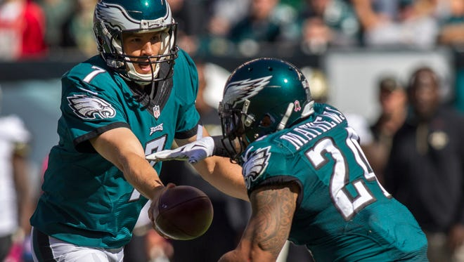 Ryan Mathews, shown taking a handoff from quarterback Sam Bradford last season, has only made it through a full 16-game season once in his six seasons in the NFL.