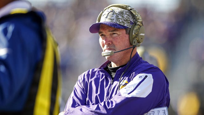 Minnesota head coach Mike Zimmer looks on during the Vikings' 21-18 overtime win Sunday. Minnesota now sits 6-2.