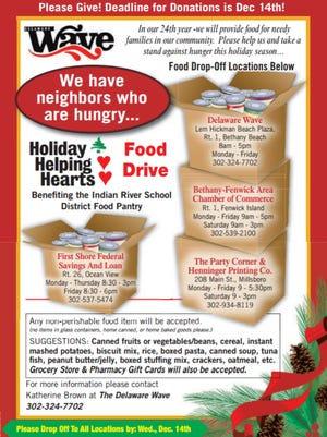The Delaware Wave has partnered with the Indian River School District Food Pantry for the Holiday Helping Hearts Food Drive.