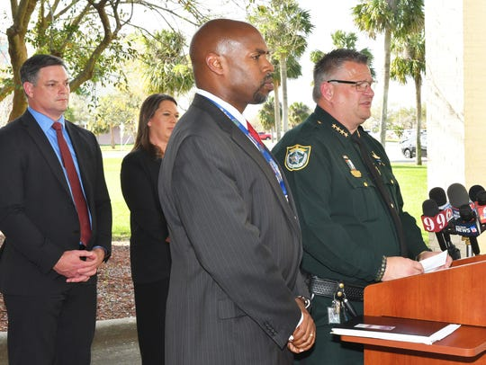 Brevard County Sheriff Wayne Ivey and former Brevard School Superintendent Desmond Blackburn held a press conference at the BCSO West Precinct in Viera to discuss several security measures in the wake of the Parkland mass shootings.
