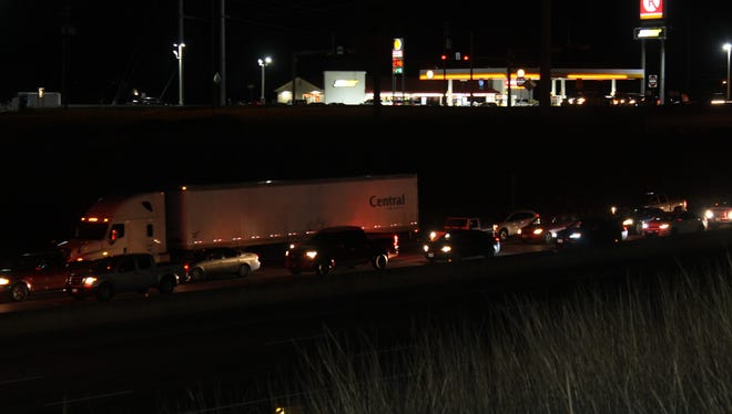 Cars were backed up Monday evening after a multi-vehicle wreck occurred on Interstate highway 37 near Callicoate Road.