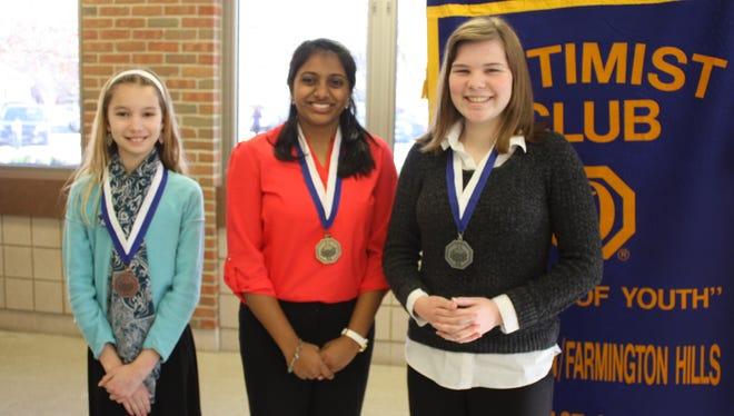 Girls winners (from left) Amanda Millar, third; Riya Shah, first; and Abigail Thomson, second.