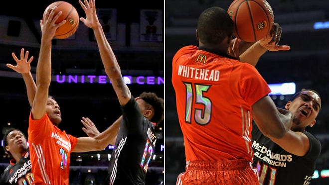 James Blackmon Jr. (in red in left photo) and Trey Lyles (in black in photo at right) played in the McDonald's All-American game. April 2, 2014