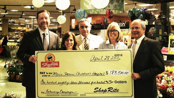 Pictured, from left, are ShopRite Supermarkets, Inc. vice president of operations Tom Urtz; ShopRite of New Rochelle Customer Service Manager Josie Long; ShopRite of New Rochelle store Director John Salcito; Westchester Medical Center Foundation Senior Director of Corporate Relations and Operations Lianne Hales Dugan; and William Russell McCurdy physician-in-chief of Maria Fareri Children's Hospital Michael Gewitz, M.D.