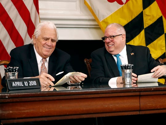 Senate President Thomas V. Mike Miller, left, and Maryland