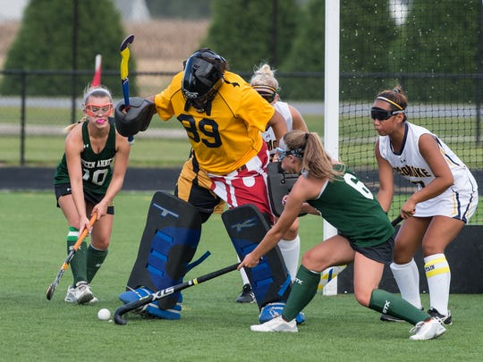 Pocomoke's Meghan Collins (89) blocks a shot from Queen Anne's on Tuesday, Sept. 12, 2017.