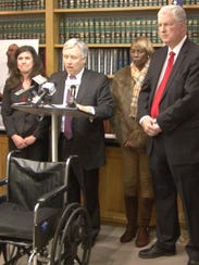 At a press conference announcing a lawsuit filed against