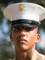 Pfc. Adrian D. Joy, honor graduate for Platoon 3052,