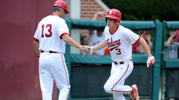 Scott Donley (3) provided the go-ahead double in the ninth inning Saturday, as Indiana advanced to the Big Ten tournament championship game with a win over Michigan State.