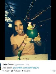 Country singer Jake Owen tweeted this photo of himself enjoying a fish bowl at the Sip 'n Dip before his concert at the Montana State Fair on Wednesday night.