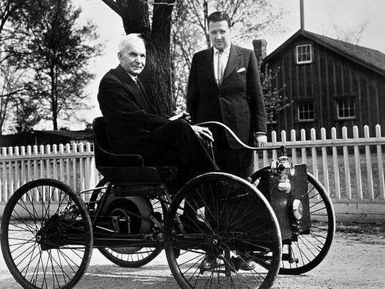 Henry Ford (left) said he never wanted Ford Motor Company to go public. After his death, his eldest grandson, Henry Ford II (right), led Ford when it debuted on the New York Stock Exchange in 1956.