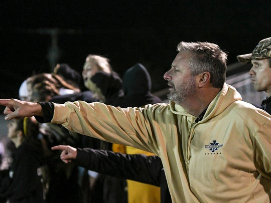 Merritt Island girls soccer head coach Scott Carswell directs his players during Wednesday's game.