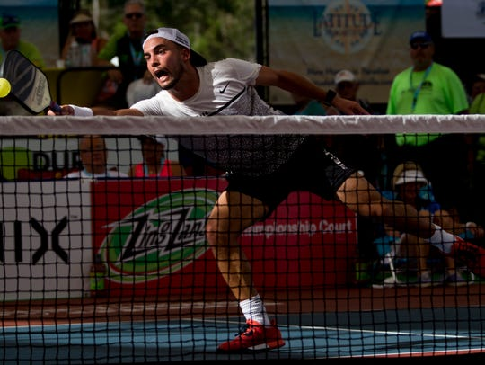 Tyson McGuffin during the men's Pro division Pickleball