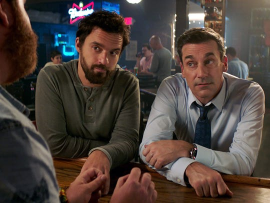 "Jake Johnson (left) and Jon Hamm star in ""Tag."""