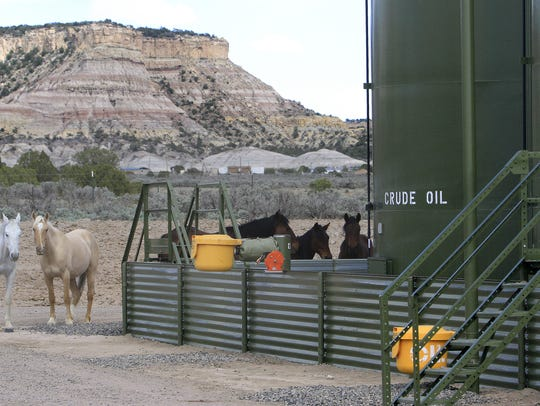 Horses are seen stand near an oil storage facility in a file photo from May 22, 2014, near Nageezi.