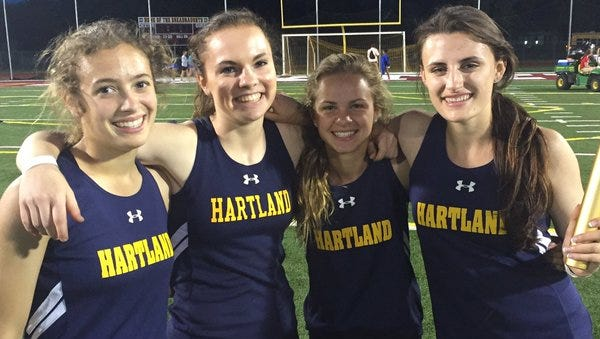 The Hartland girls 1,600-meter relay team broke a school record on Tuesday.
