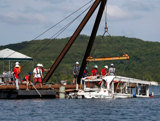 The duck boat that sank July 19, 2018, on Table Rock Lake, in Branson, Missouri, killing 17 people was raised from the bottom of the lake July 23, 2018.