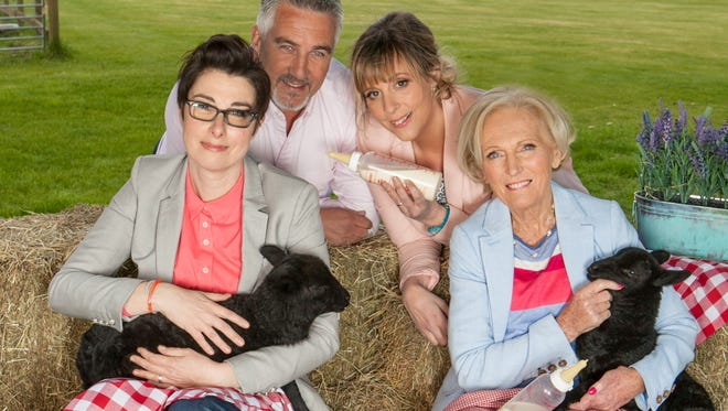 """From left, the classic lineup of """"The Great British Baking Show,"""" cohost Sue Perkins, judge Paul Hollywood, cohost Mel Giedroyc and judge Mary Berry."""