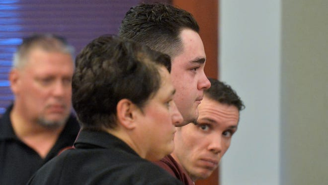 Joseph Knowles listens as Missoula County District Judge John Larson sentences him to 60 years in Montana State Prison on Tuesday, for the stabbing death of Megan Meriwether.