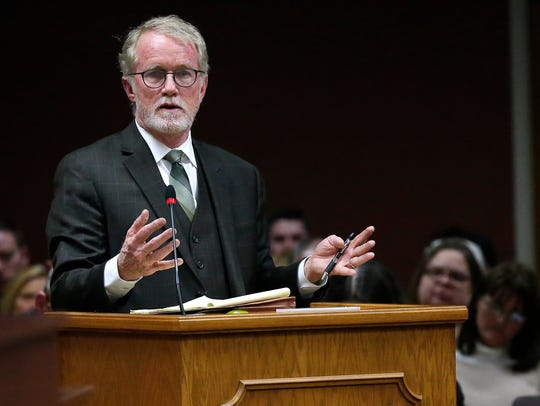 Mayor Jim Schmitt's attorney, Patrick Knight, addresses