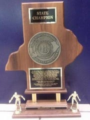 This is Campbell County's wrestling team state championship trophy.