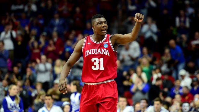 Indiana Hoosiers center Thomas Bryant (31) reacts in the second half against the Kentucky Wildcats during the second round of the 2016 NCAA Tournament at Wells Fargo Arena.