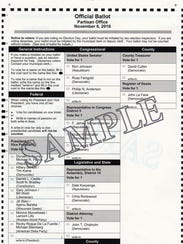 A view of a sample ballot to be used in Wauwatosa Nov.