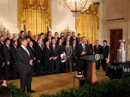 Nov. 4: President Obama greets the Chicago Blackhawks at the White House in the final celebration by the team after winning the Stanley Cup in June 2013.