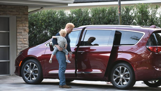 """The Chrysler brand officially debuts its new """"Dad Brand"""" advertising campaign for the 2017 Chrysler Pacifica April 8, 2016 featuring actor/comedian/writer/producer Jim Gaffigan."""