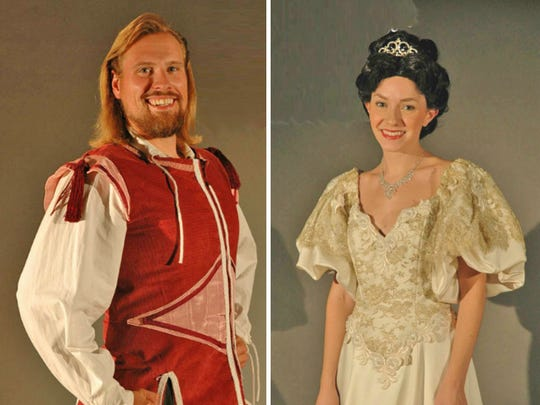 "Joseph York (The Prince), Alison Levier (Cinderella) and Gina Teschke (Little Red) are among the storybook characters going ""Into the Woods"" with Phoenix Productions at Red Bank's Count Basie Theatre."