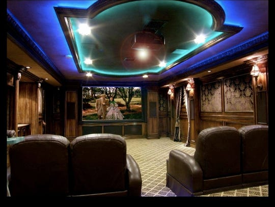 Home theater with LED lights.