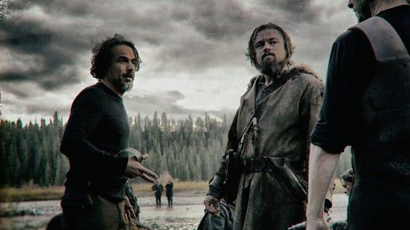Alejandro González Iñárritu and Leonardo DiCaprio in