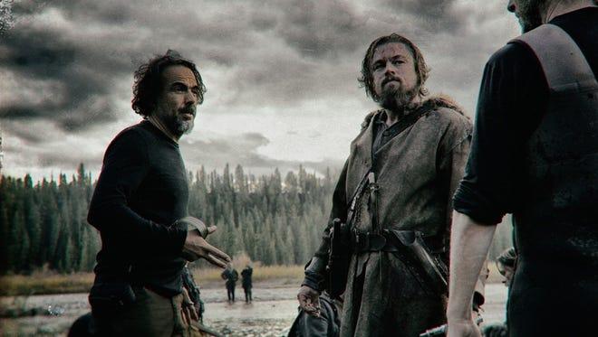 Alejandro González Iñárritu and Leonardo DiCaprio in 'The Revenant.'