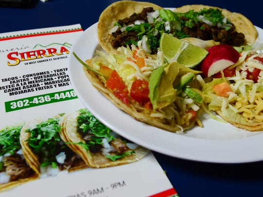 Fish and Barbacoa tacos at La Sierra in Selbyville,