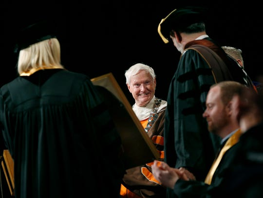 RIT President Bill Destler during the Academic Convocation