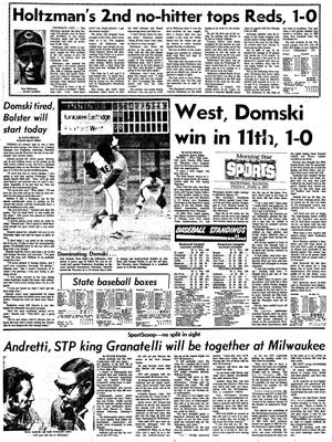 The Rockford Register Star's sports page the day after Dan Domski threw an 11-inning shutout in the state quarterfinals for West High in 1971.