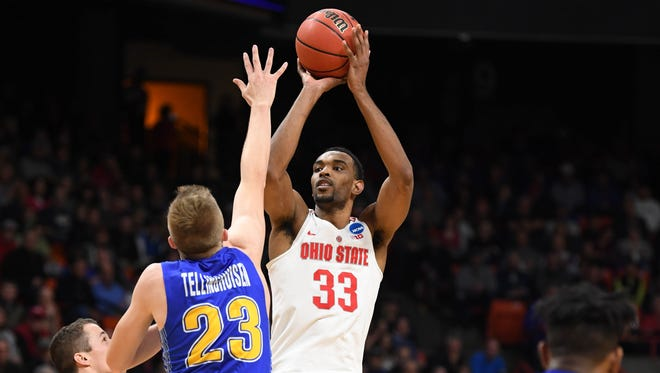 Ohio State forward Keita Bates-Diop shoots over South Dakota State guard Reed Tellinghuisen during the first round of the 2018 NCAA tournament at Taco Bell Arena.