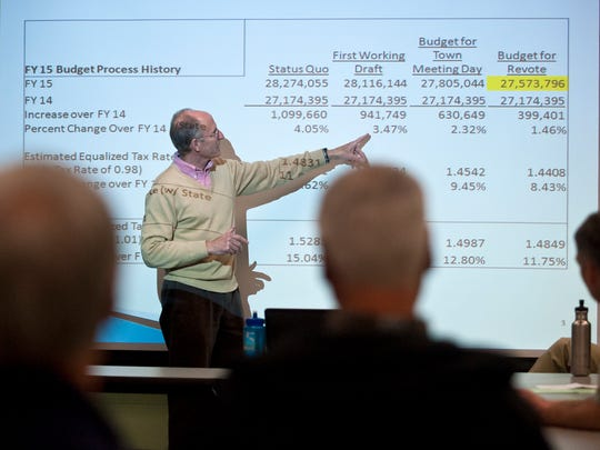 Ken Remsen of the Mount Mansfield Union School Board explains details of a reworked budget during an informational meeting at Camel's Hump Elementary School in Richmond on Tuesday.