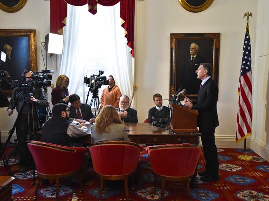 Gov. Peter Shumlin answers questions during a news conference at his ceremonial office at the Statehouse in Montpelier on Tuesday, January 27, 2015.