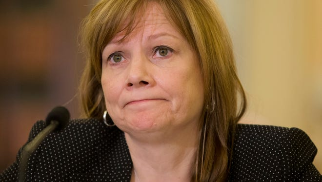 General Motors CEO Mary Barra listens as she testifies on Capitol Hill in Washington on April 2.