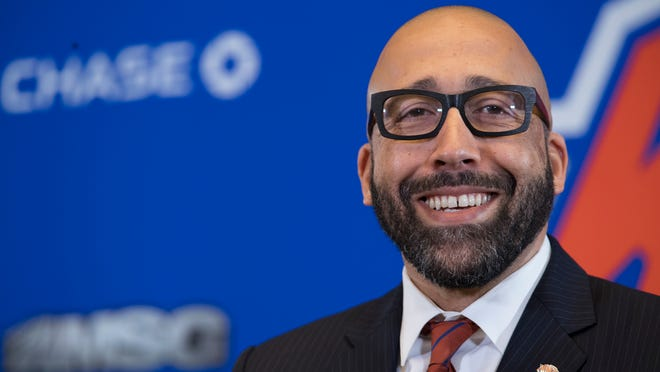New York Knicks NBA basketball team new head coach David Fizdale speaks during an introductory news conference, Tuesday, May 8, 2018, in New York. The Knicks announced the hiring Monday after agreeing to terms with the former Memphis Grizzlies coach last week.  (AP Photo/Mary Altaffer)