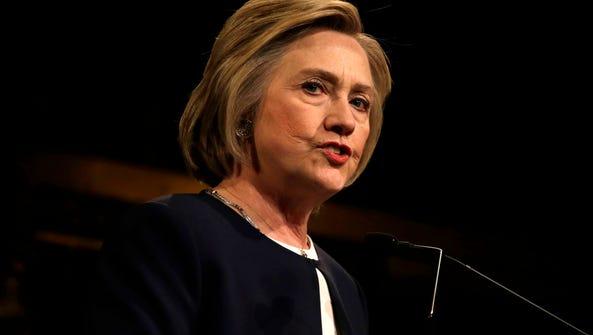 Hillary Clinton speaks at a fundraising breakfast in