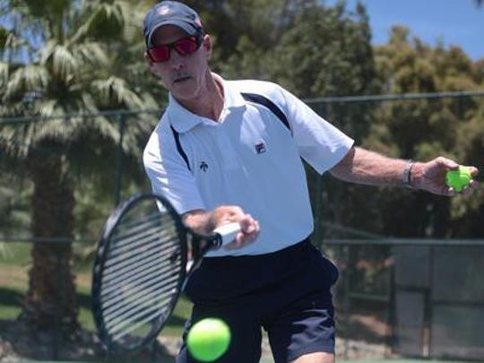 Mike Fedderly, of Palm Desert, hits a ball at Thunderbird