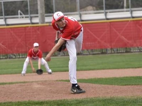 Canton senior lefty Tyler Byers sends a pitch on its