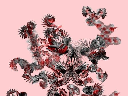 "Monica Tiulescu's digitial print on metal, ""Species"