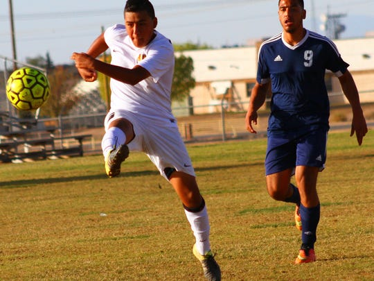 Alamogordo's Jr. Barbosa takes a shot at the goal Saturday evening at the Riner Steinoff Soccerplex.