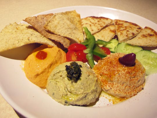 The Hummus Trio at Zoës Kitchen features, from left,