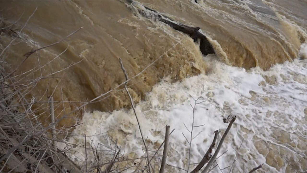 High water on the Muskingum River at Zanesville Dam on Tuesday.